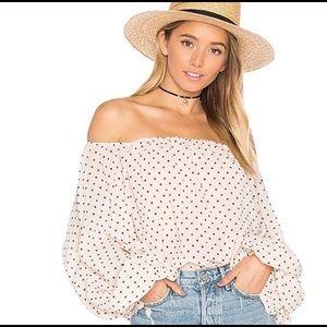 NWT Lovers + Friends Emery polka dot blouse XS